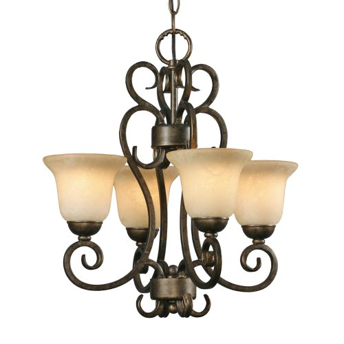 Golden Lighting 8063-GM4 BUS Heartwood Mini Chandelier, Burnt Sienna Finish