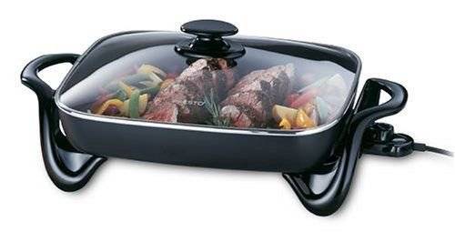 New 16-Inch Electric Skillet With Glass Cover Cookware Non Stick Buffet Server