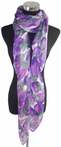 Large Purple and White, Fruit Chiffon Scarf or Sarong.