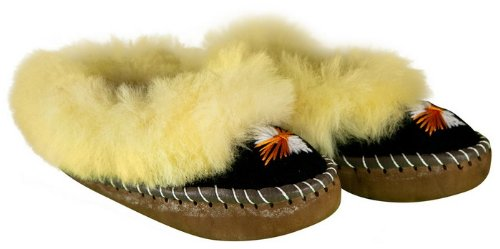 Image of Women's Leather & Wool Slippers - Zakopane Style (B009K4ICNO)