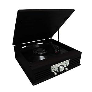 TOURNE DISQUE 33 ET 45 TOURS USB ENCODEUR ET RADIO bois noir
