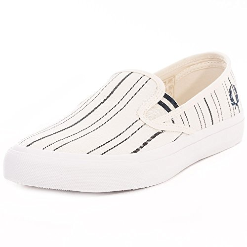 Fred Perry Turner Slip On Stripe Mens Fabric Trainers Ecru - 43 EU