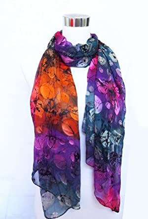 "Chiffon/Satin Blend Multicolored Polka Dot Print - 100% Silk Long Scarf 21"" x 68"""