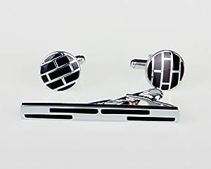 Lodestar Galaxy boutons de manchette classiques et pince à cravate élégante, ensemble en boîte-cadeau: Circular Maze DE (ACK-13)