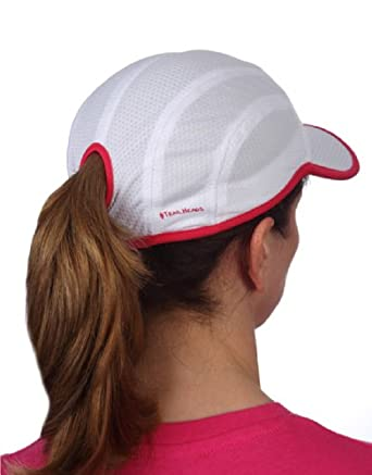 TrailHeads Goodbye Girl Ponytail Running Cap - white pink by TrailHeads