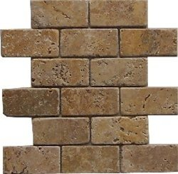 2x4 Noche Noce Tumbled Travertine Mosaics Meshed on 12x12 sheet