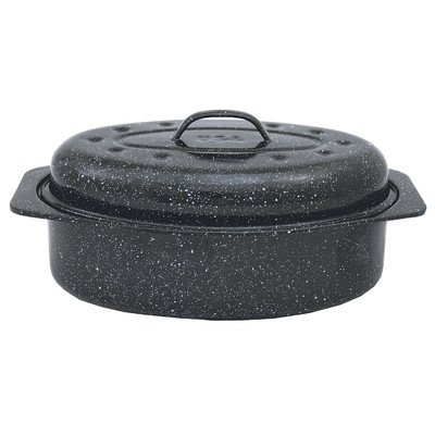 """Columbian Home Covered Oval Roaster Ceramic On Steel Black 13"""" X 8"""" X 5"""""""