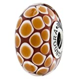 Genuine PANDORA Extra Large Murano Cinnamon Brown Exotic Bead with Sterling Core 790900