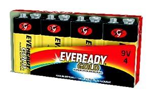 Eveready Gold Alkaline Batteries 9 Volt, Pack of 4