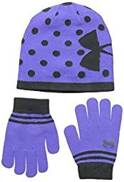 Under Armour Girls\' Knit Beanie Glove Combo,Violet Storm,4-7/Medium