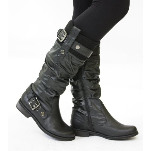 Womens Flat Biker Boots Ladies Wide Calf Boots