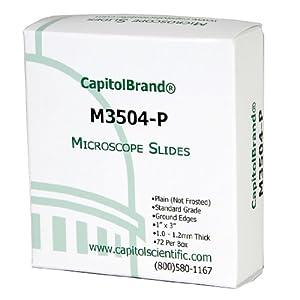 CapitolBrand M3504-P Borosilicate Glass Standard Grade Plain Microscope Slides, 3