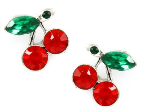 Small Silver Plated Red and Green Crystal Juicy