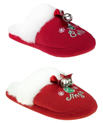 "Cheap Capelli New York ""Jingle Bells"" Slipper Scuff With Bow Bells And Sock Ladies Indoor Slipper (B005MJZ824)"