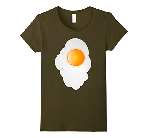 [Women's Fried Egg last minute funny Halloween costume tshirt XL Olive] (Easy Homemade Adults Halloween Costumes)