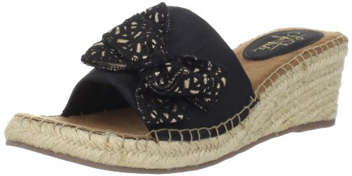 LifeStride Women's Ray Espadrille,Black/Cream/Black,9 W US