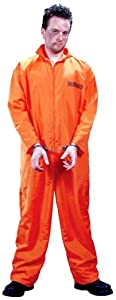 FunWorld Men's  Got Busted Penitentiary Costume, Orange, One Size Costume