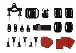 Accessoires de fixation pour GoPro - Set de 24 pièces - Kit de montage pour HD Hero - Compatible avec GoPro 1 / 2 / 3 / 3+