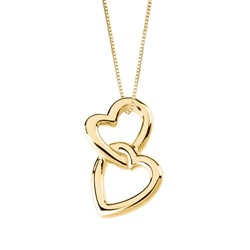 Double Hearts Linked 14K Yellow Gold Necklace