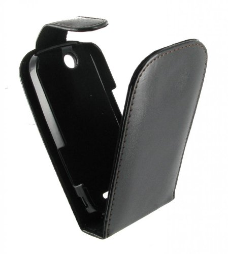 Etui Coque de Protection avec Rabat Noir _ Sony Ericsson Zylo W20