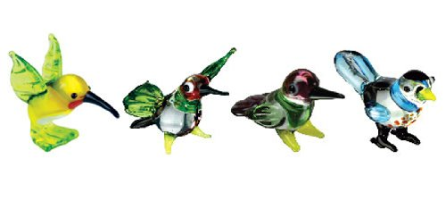 Looking Glass Miniature Collectible - Hummingbird / Bullfinch (4-Pack)