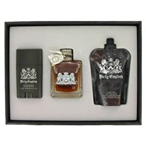 Dirty English by Juicy Couture - Gift Set -- 3.4 oz Eau De Toilette Spray + 4.2 oz After Shave Soother + 2.6 oz Deodorant Stick