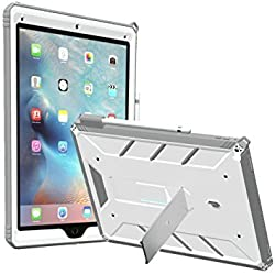 iPad Pro 12.9 Case, POETIC Revolution [Premium Rugged][Landscape Stand Feature][Shock Absorption & Dust Resistant] Protective Case w/ Built-In Screen Protector for Apple iPad Pro 12.9 White/Gray