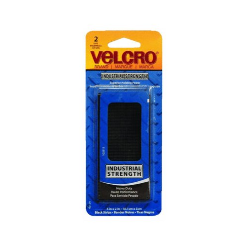 Velcro Products - Velcro - Industrial Strength Sticky-Back Hook & Loop Fastener Strips, 4 x 2, Black - Sold As 1 Pack