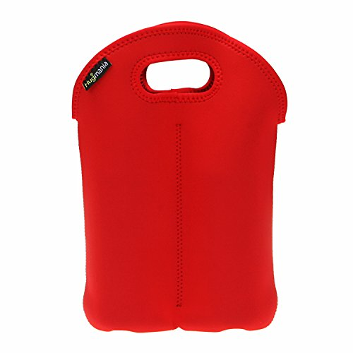 Wine Bag, Hugmania Stylish Neoprene Tote Sleeves Protector, Travel Camping Visit Gift Storage Handbag for 750ml 2 Bottles Red White Wine Champagne Beverages (Red) (Monogrammed Wine Carrier compare prices)