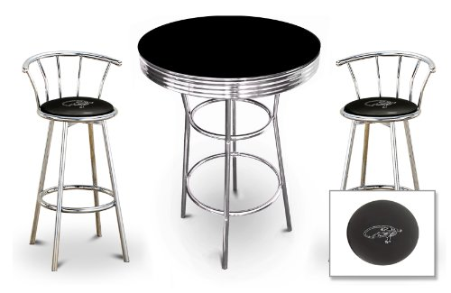 New 3 Piece Iguana Reptile Themed Chrome Metal Bar Table Set With Black Or White Top And 2 Bar Stools With Your Choice Of Seat Cushion Vinyl Color. front-1024379
