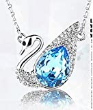 Julia&Joy Jewellery Sliver Plated Austrian Zircon Diamante Blue Glass Crystal Necklaces Cute Small Swan Pendant Made with Swarovski Elements for Women as a Special Gift J181