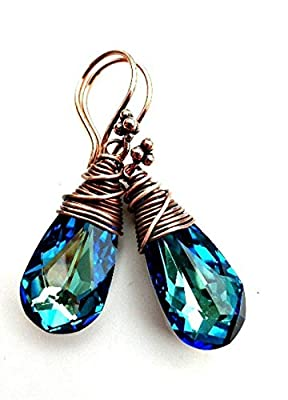 Copper Wire Wrapped blue crystal earrings. Bermuda Blue Swarovski crystal. Medium size earrings. Boho, bohemian, bling, sparkle drop earrings. Handmade jewelry, jewellery.