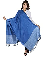 Figaro Blue Viscose Woven Women's Shawl