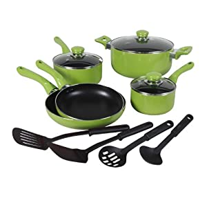 ... Colorsplash Everton 12-Piece Cookware Set - Green Cookware Best Price