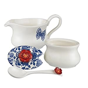 Grasslands Road American Bloom Ceramic Creamer Sugar Bowl with Spoon, 5-Inch, Gift Boxed by Grasslands Road
