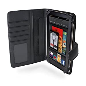Navitech Genuine Black Napa Leather Flip Open Book Style Carry Case Cover for the New Kindle Fire 7 Inch Tablet By Amazon (September 14th Launch)