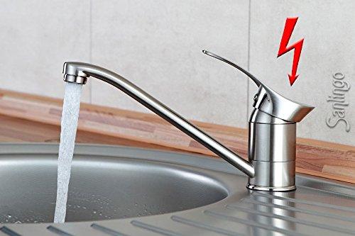 Niederdruck Spültisch Küchen Armatur schönes Design Edelstahloptik Sanlingo