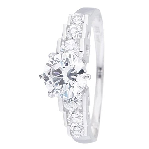 Infinite INFINITE Radiance - radiant Solitaire Ring. 375 White Gold And Cubic Zirconia Women Size - 50