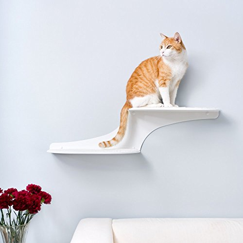 The Refined Feline Cat Cloud Cat Shelves in White, Right Facing