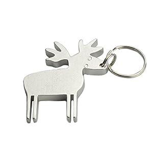 thicken deer shape metal bottle opener keychain keyring key chain ring kitchen dining. Black Bedroom Furniture Sets. Home Design Ideas