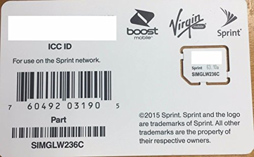 Sprint UICC ICC Micro SIM Card SIMGLW236C for Sprint, Boost, Virgin, Ting, Flash, Ring Plus (Moto G Phone Boost Mobile compare prices)