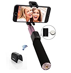 Karnotech® REMAX Integrated Foldable Selfie Stick with Detachable Bluetooth Remote Shutter for iPhone, SAMSUNG Galaxy, Android, RP-P4 Pink