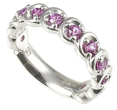 Merii Sterling Silver Purple CZ Contemporary Half Eternity Ring