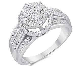 Diamond Engagement Ring Micro Pave 10k White Gold Bridal (0.40 Carat), Size 7.5
