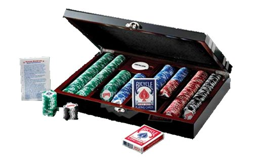 Bicycle Premium Mega Masters 500 11.5-Gram Clay-Filled Poker Chip Set in a Black Lacquered Case