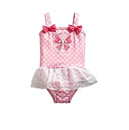 Penny M Baby Girl Skirted One-piece Swimsuit Pink Butterfly 12-24 Months (12 month)