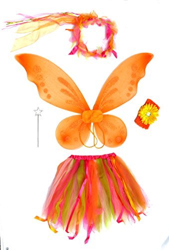 5 Pc Girls Bright Orange & Pink Pixie Fairy Set With Crochet Headband front-165414