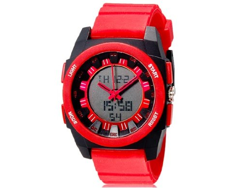 Onceall Shors Sh-765 Unisex Dual Movement Analog & Digital Waterproof Watch With Led Display (Red) M.