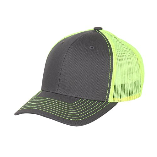 Richardson Twill Mesh Back Trucker Hat with Adjustable Plastic Snapback (Charcoal Neon Yellow) (Richardson Baseball Caps compare prices)
