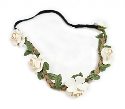 Fashionwu Women Boho Flower Hairband Party Wedding Headbands Beige